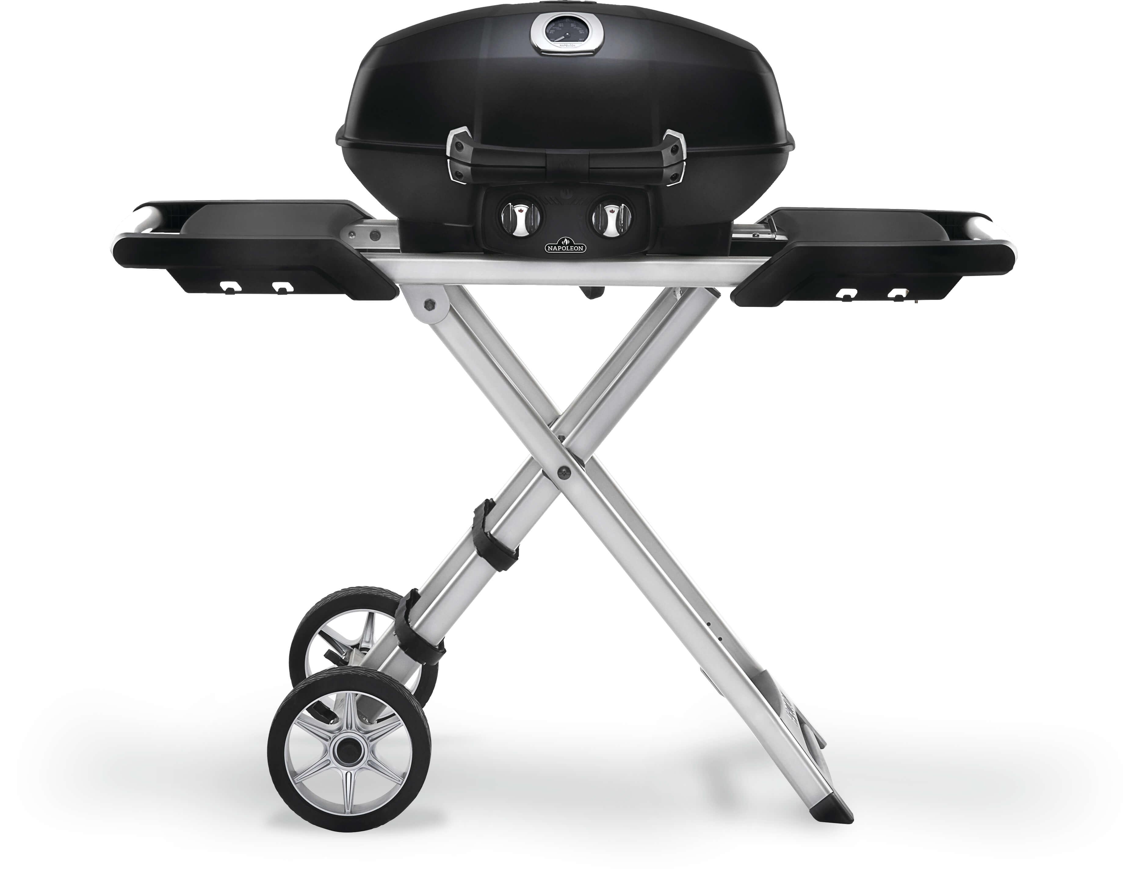 TravelQ™ PRO285X Portable Propane Gas Grill with Scissor Cart, Black