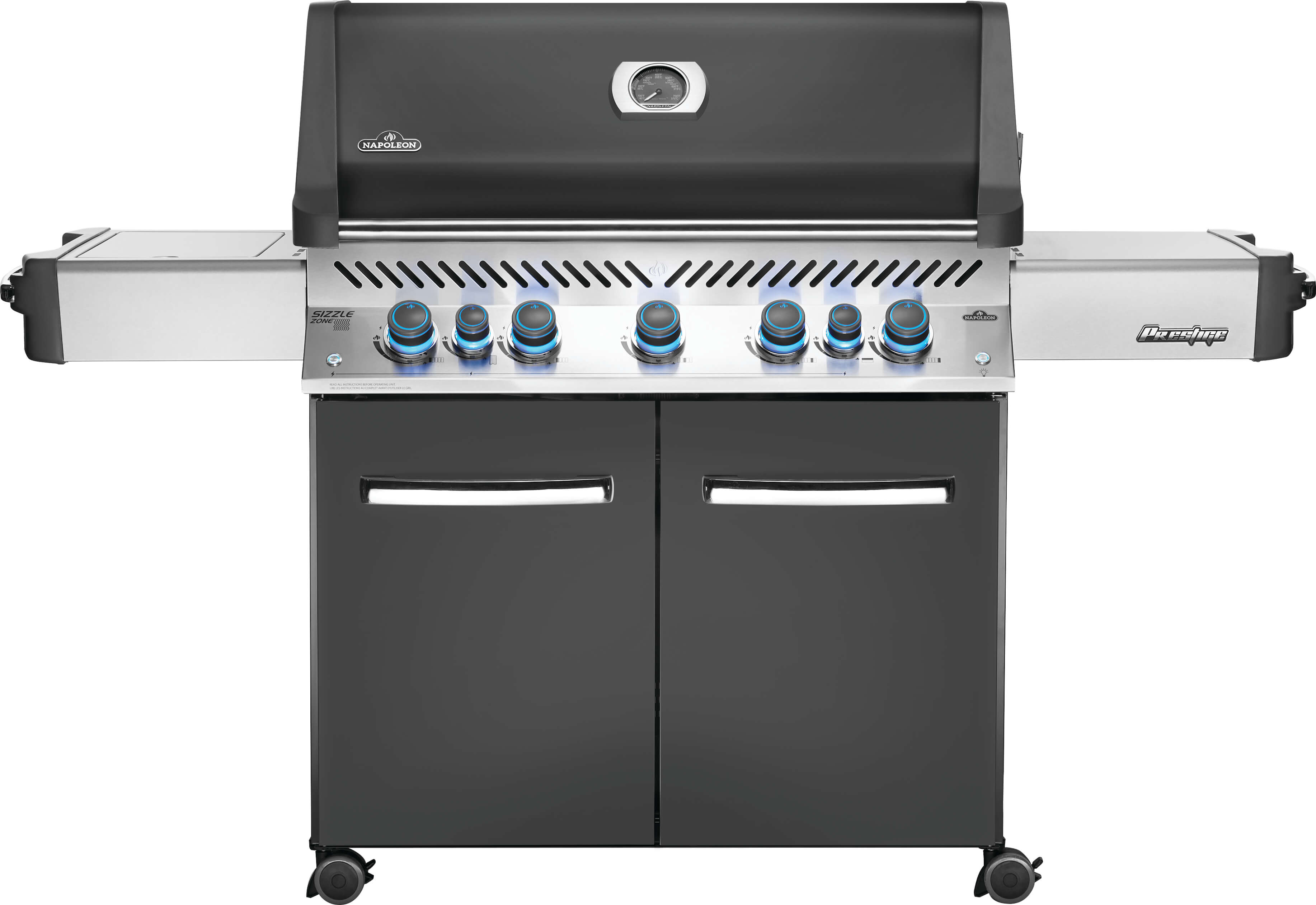 Prestige® 665 Propane Gas Grill with Infrared Side and Rear Burners, Grey