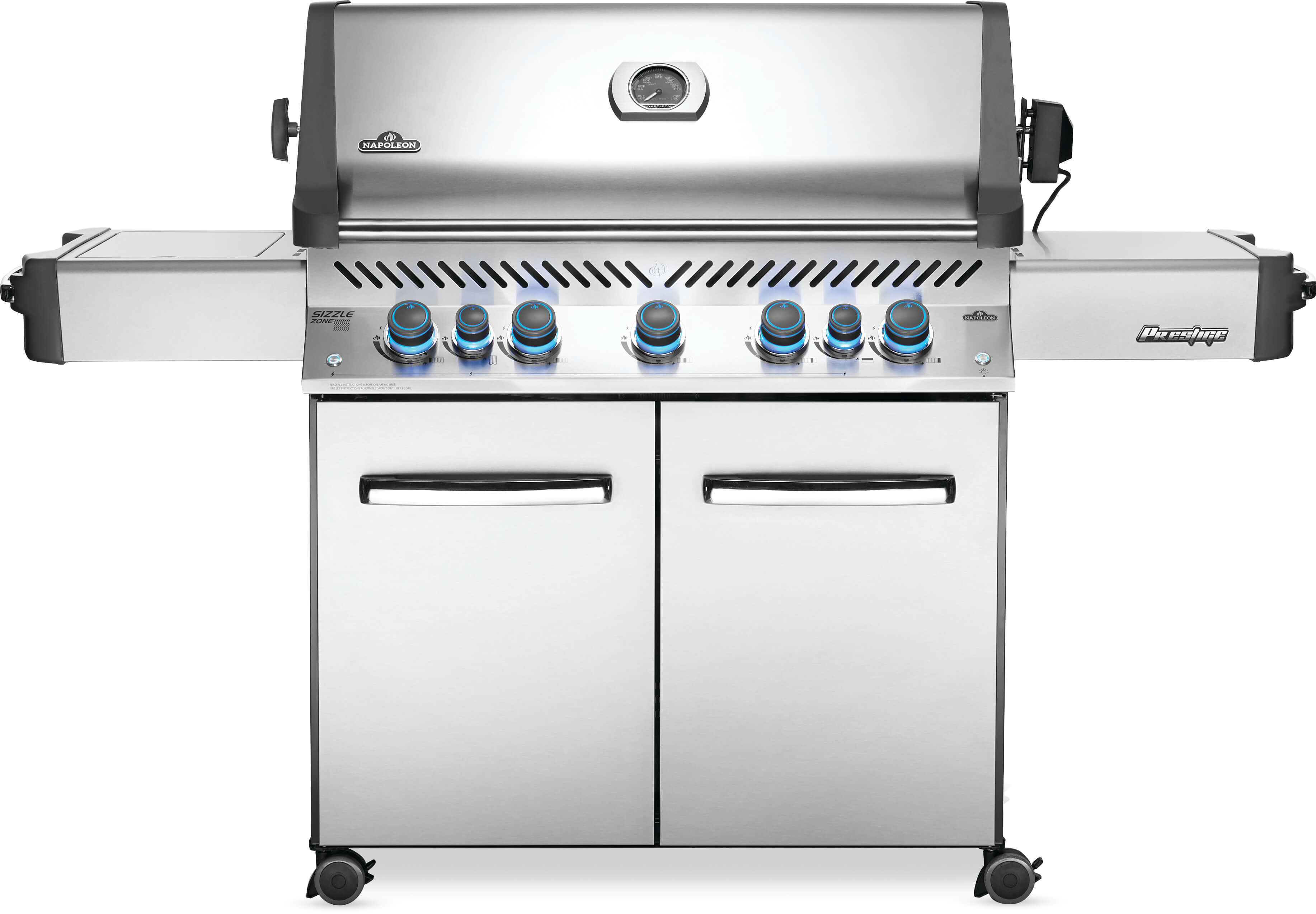 Prestige® 665 Natural Gas Grill with Infrared Side and Rear Burners, Stainless Steel