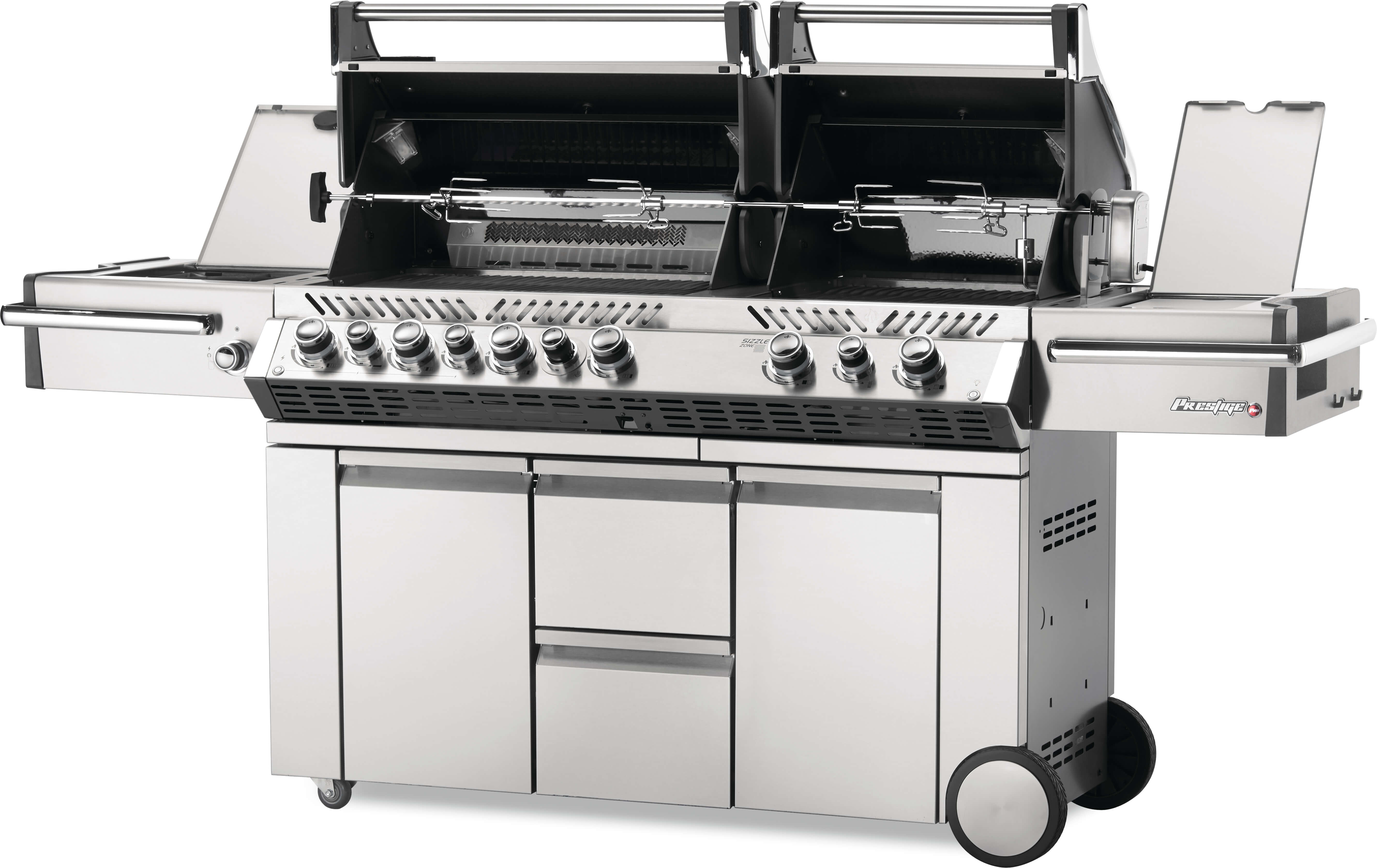 Prestige PRO™ 825 Propane Gas Grill with Power Side Burner and Infrared Rear & Bottom Burners, Stainless Steel